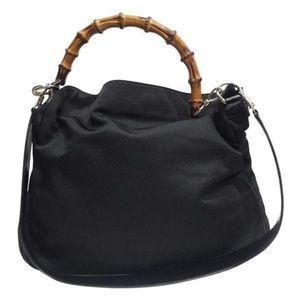 Gucci black nylon bamboo two way shoulder bag